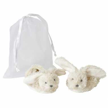 Geboorte baby slofjes konijn speelgoed