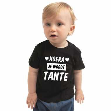 Hoera je wordt tante cadeau t-shirt zwart baby jongen meisje speelgoed