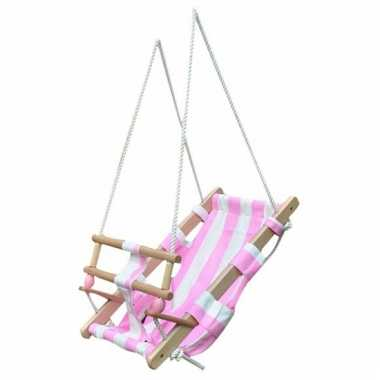 Houten baby schommels wit roze speelgoed