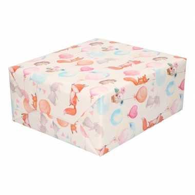 Inpakpapier/cadeaupapier baby dieren print speelgoed