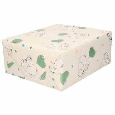 Inpakpapier cadeaupapier baby olifant speelgoed