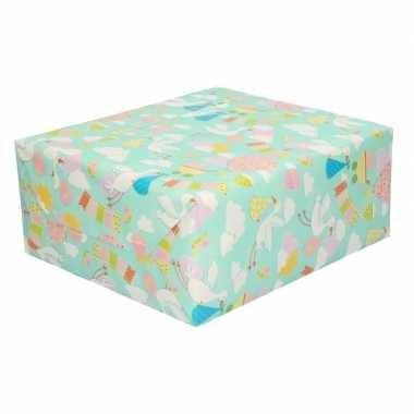 Inpakpapier/cadeaupapier baby ooievaar print speelgoed