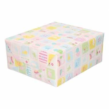 Inpakpapier/cadeaupapier baby pastel print speelgoed