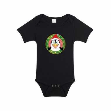 Kerst rompertje pinguin print zwart baby speelgoed