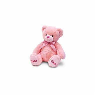 Pluche baby girl beer roze speelgoed