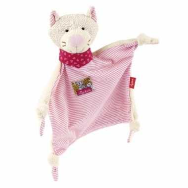 Pluche baby knuffel katje roze speelgoed