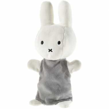 Pluche nijntje handpop knuffel wit grijs baby speelgoed