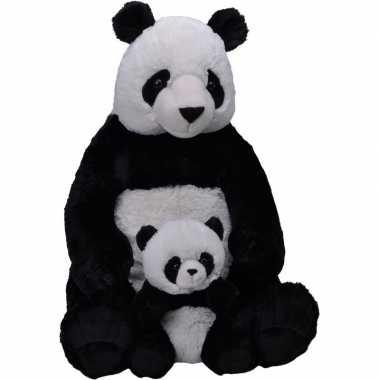 Pluche zwart/witte panda beer baby knuffel speelgoed