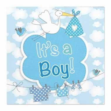 X geboorte jongen babyshower servetten blauw papier speelgoed