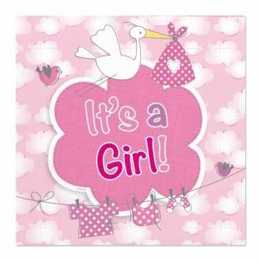 X geboorte meisje babyshower servetten roze papier speelgoed