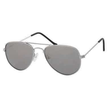 Zilveren baby/peuter piloten zonnebril speelgoed