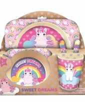 Baby bamboe sweet dreams ontbijt setje unicorn eenhoorn kinderen speelgoed
