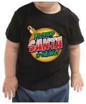 Baby kerstshirt my friend santa is the best zwart peuters speelgoed