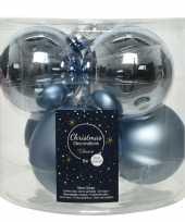 Baby x lichtblauwe glazen kerstballen glans mat speelgoed 10186457