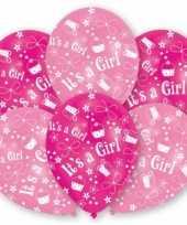 Babyshower roze ballonnen stuks speelgoed