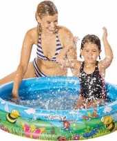 Blauw bloemen opblaasbaar zwembad baby badje speelgoed