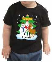 Kerstshirt kerstman dierenvriendjes zwart baby jongen meisje speelgoed