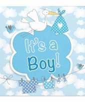 X geboorte jongen babyshower servetten blauw papier speelgoed 10162866